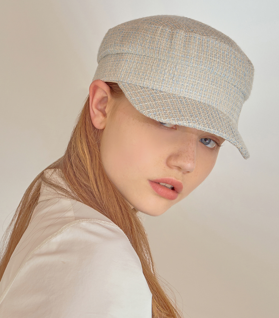 andy marine cap - tweed light blue