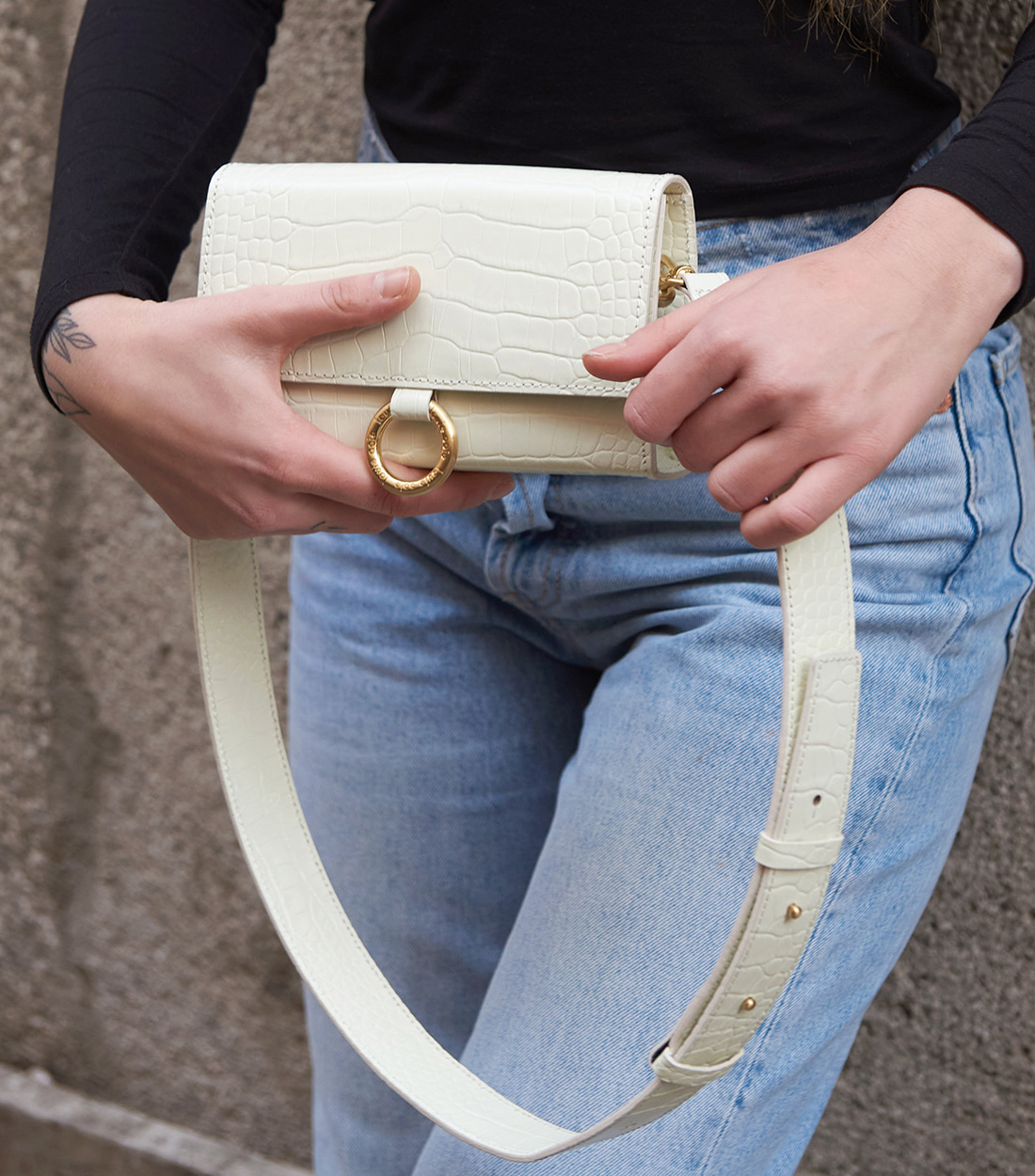 nina bag - ivory embo [refurb 50%]